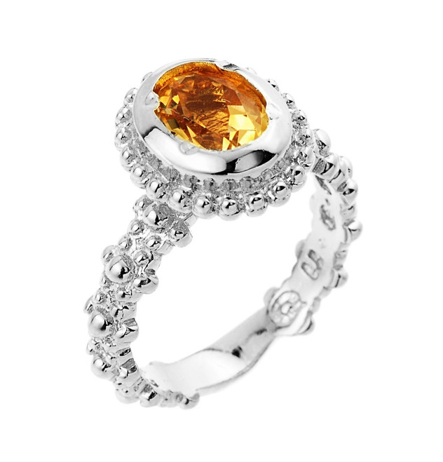 Sterling Silver Lab Created Citrine November Birthstone Ladies Ring