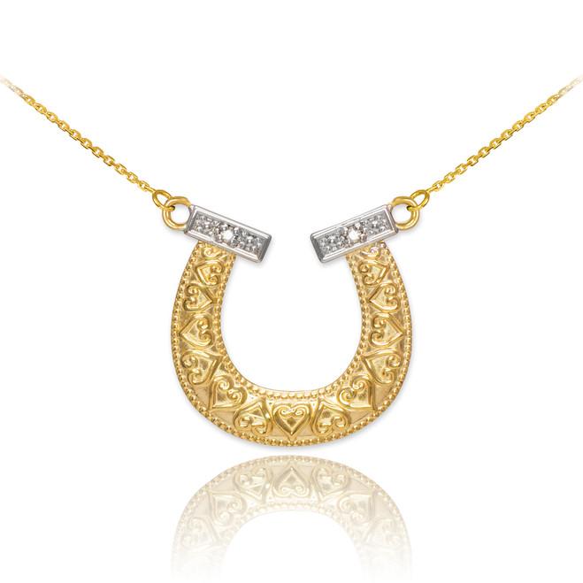 14k Two-Tone Gold Diamond Horseshoe Necklace