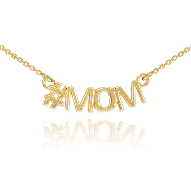 14k Gold #MOM Necklace