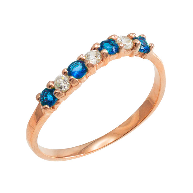 Rose Gold Wavy Stackable CZ Blue Topaz Ring