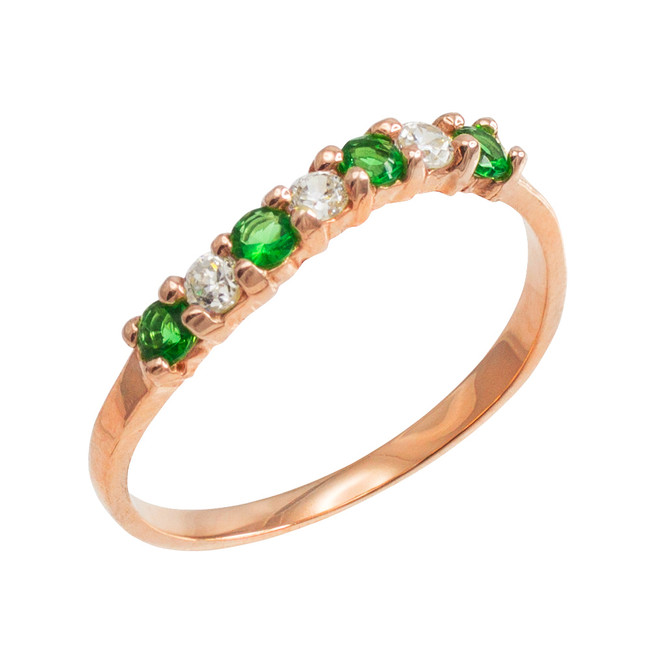 Rose Gold Wavy Stackable CZ Emerald Ring