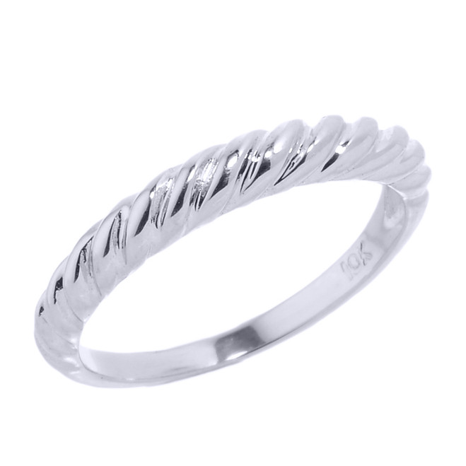 White Gold Twisted Rope Knuckle Ring
