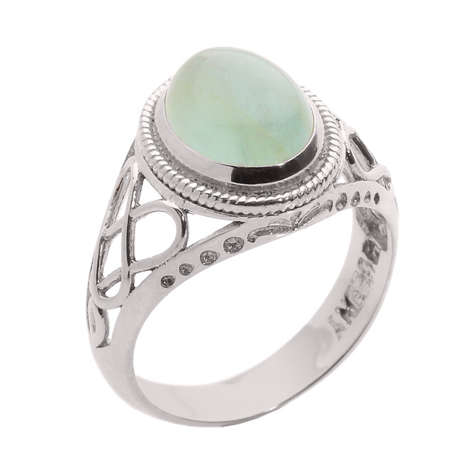Sterling Silver Celtic Trinity Knot Aquamarine Ring