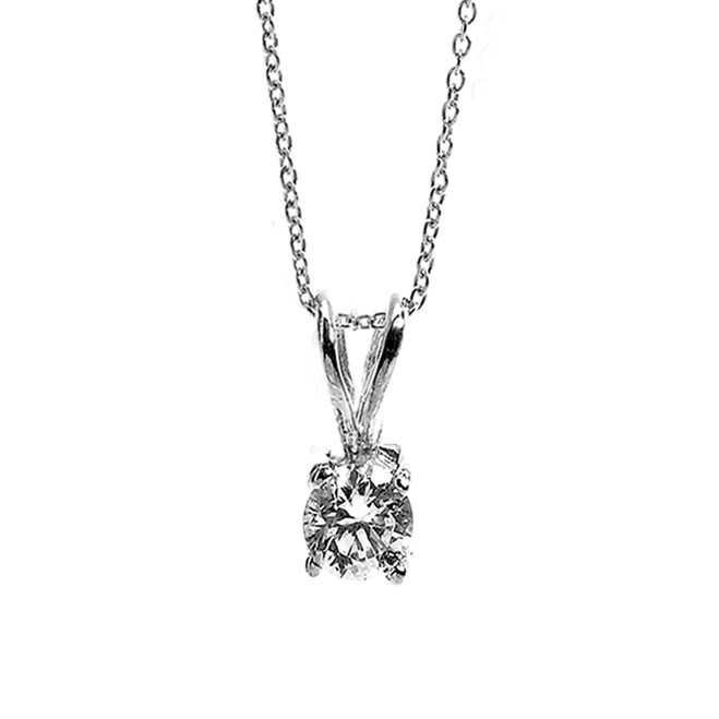 14K White Gold Cubic Zirconia April Birthstone Pendant Necklace
