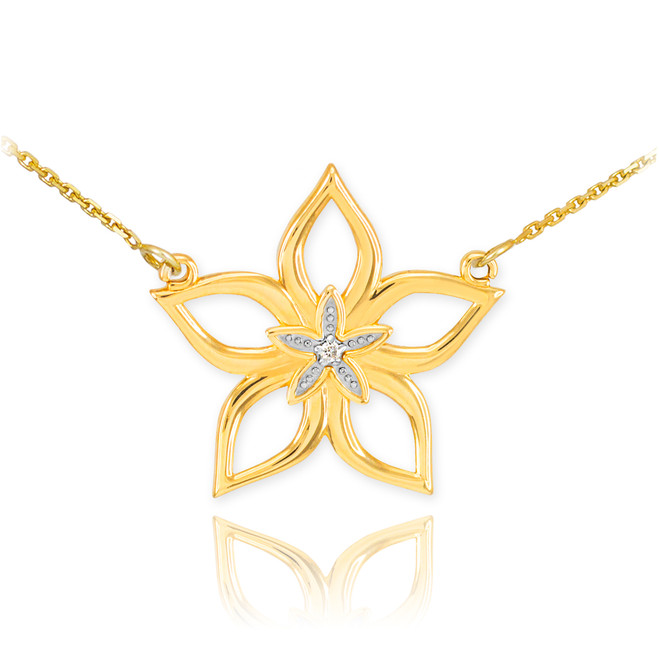 14k Gold Diamond Star Flower Necklace