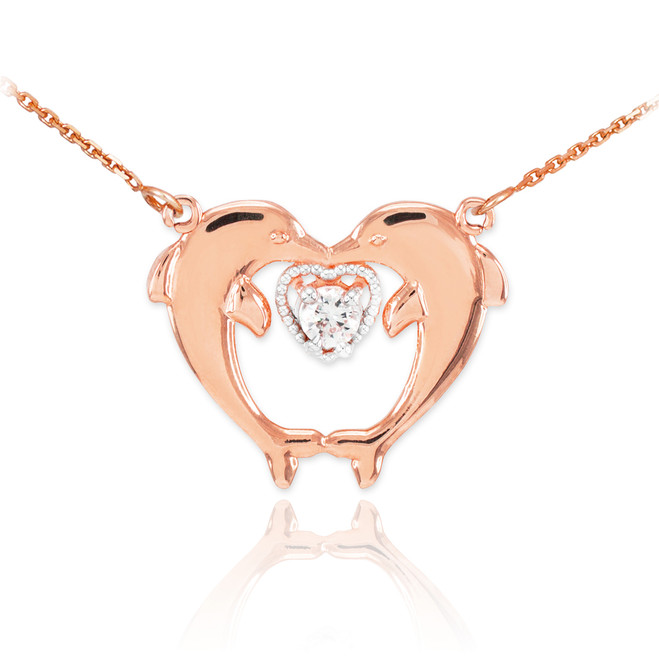 14k Rose Gold Two Dolphins CZ Necklace