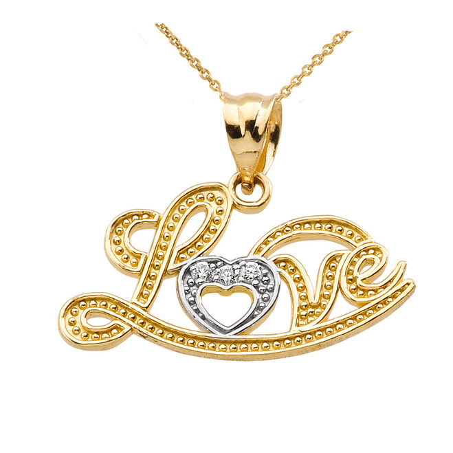"""Love"" Script Yellow Gold Diamond Pendant Necklace"