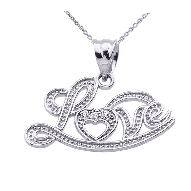 """Love"" Script White Gold Diamond Pendant Necklace"
