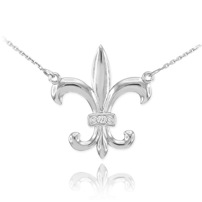 Sterling Silver CZ Fleur-de-Lis Necklace