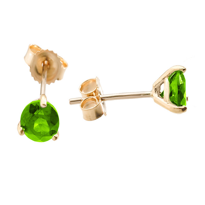 Yellow Gold Peridot Martini Stud Earrings