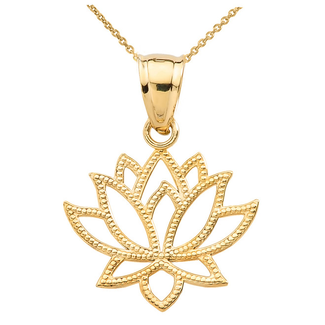 Yellow Gold Lotus Flower Pendant Necklace