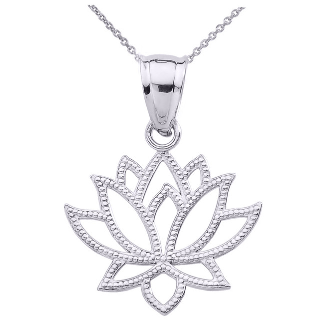 White Gold Lotus Flower Pendant Necklace