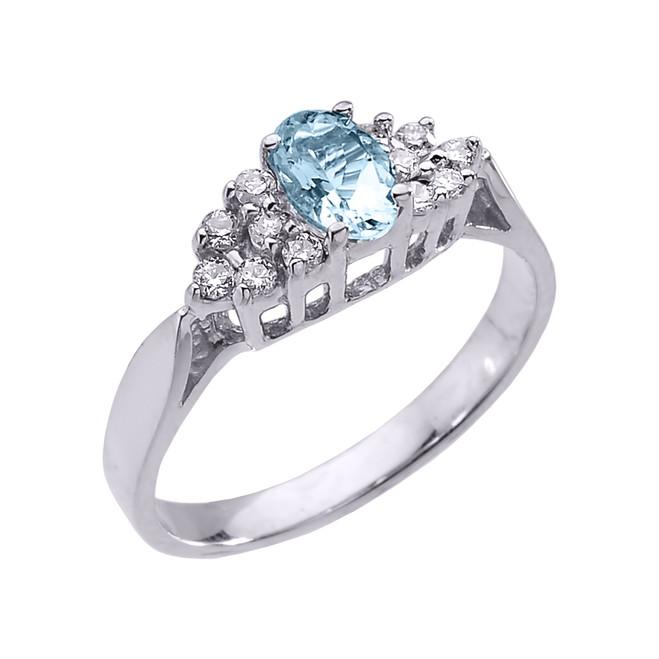 White Gold Aquamarine and Diamond Proposal Ladies Ring