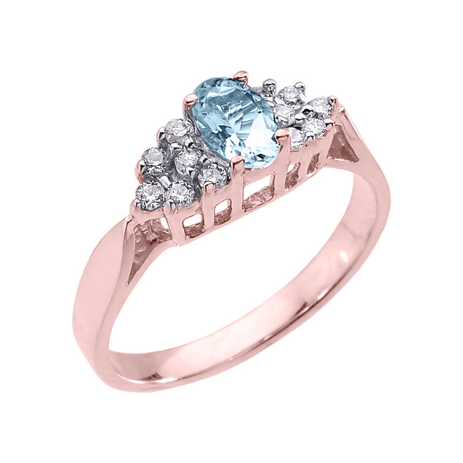 Rose Gold Aquamarine and Diamond Proposal Ladies Ring