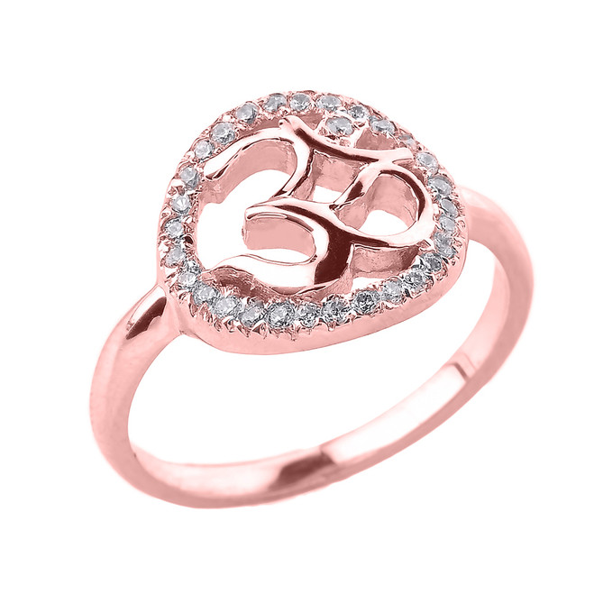 Rose Gold CZ Studded Om/Ohm Ring