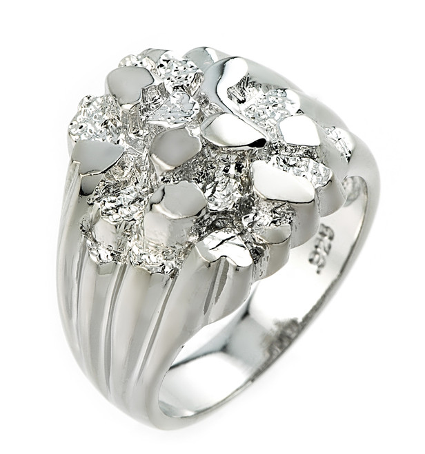 High Polished Sterling Silver Men's Nugget Ring