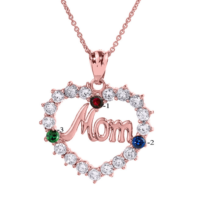 "Rose Gold ""MOM"" Open Heart Pendant Necklace with Three CZ Birthstones"