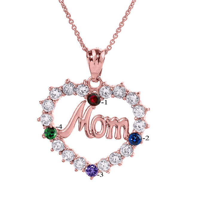 "Rose Gold ""MOM"" Open Heart Pendant Necklace with Four CZ Birthstones"