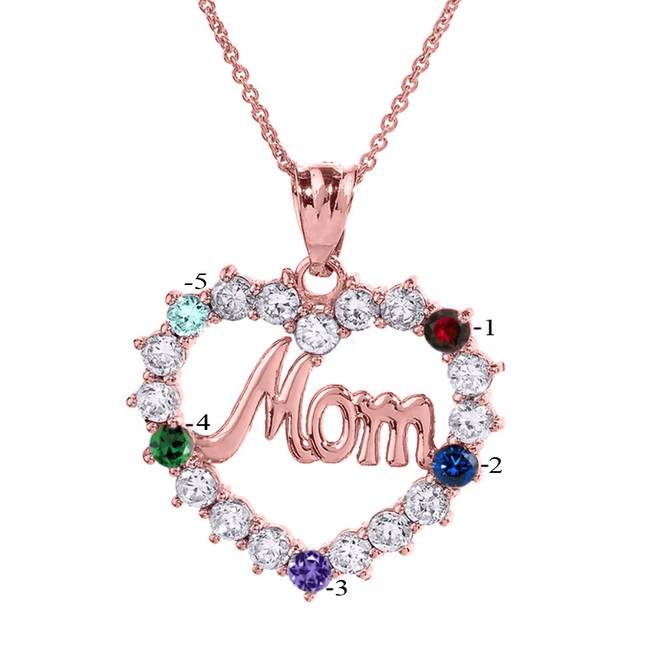 "Rose Gold ""MOM"" Open Heart Pendant Necklace with Five CZ Birthstones"