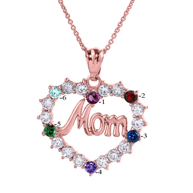 "Rose Gold ""MOM"" Open Heart Pendant Necklace with Six CZ Birthstones"