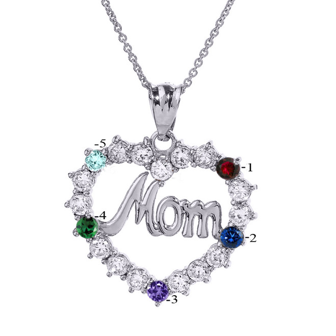 """Sterling Silver """"MOM"""" Open Heart Pendant Necklace with Five CZ Birthstones"""