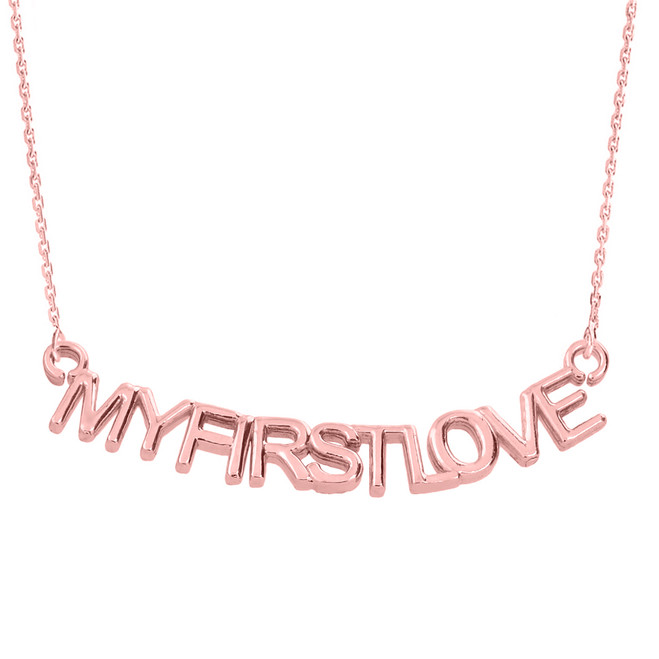 "14K Rose Gold  ""MYFIRSTLOVE"" Pendant Necklace"