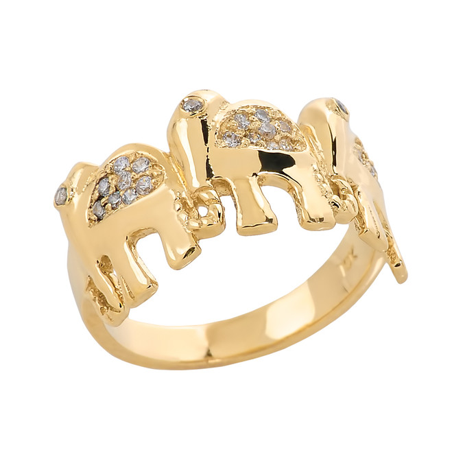 Yellow Gold CZ Studded Three Elephant Ladies Ring