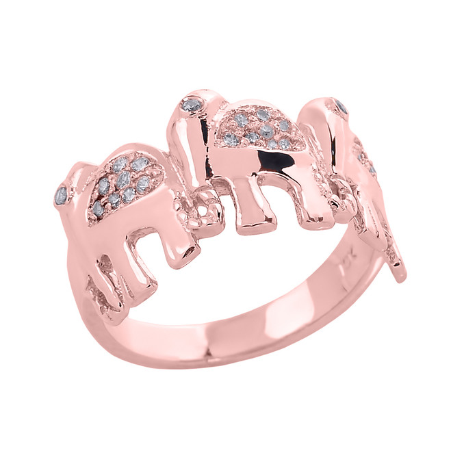 Rose Gold CZ Studded Three Elephant Ladies Ring