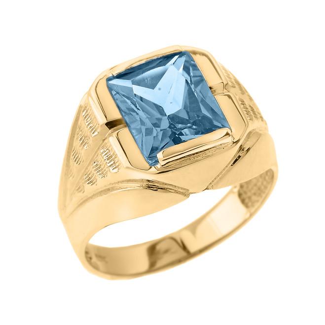 Yellow Gold Aquamarine Gemstone Men's Ring