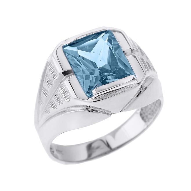 White Gold Aquamarine Gemstone Men's Ring