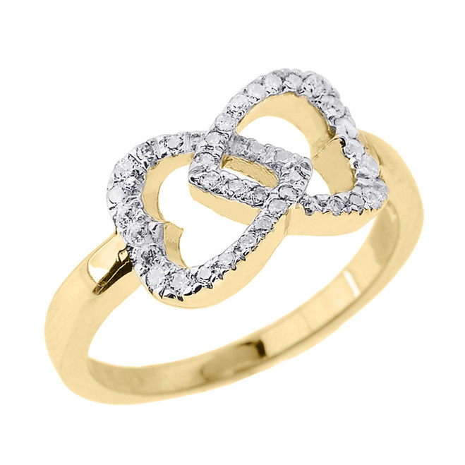 Yellow Gold Diamond Infinity Double Heart Promise Ring