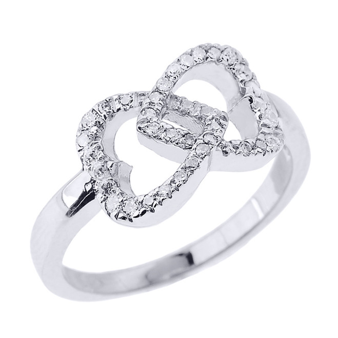 White Gold Diamond Infinity Double Heart Promise Ring
