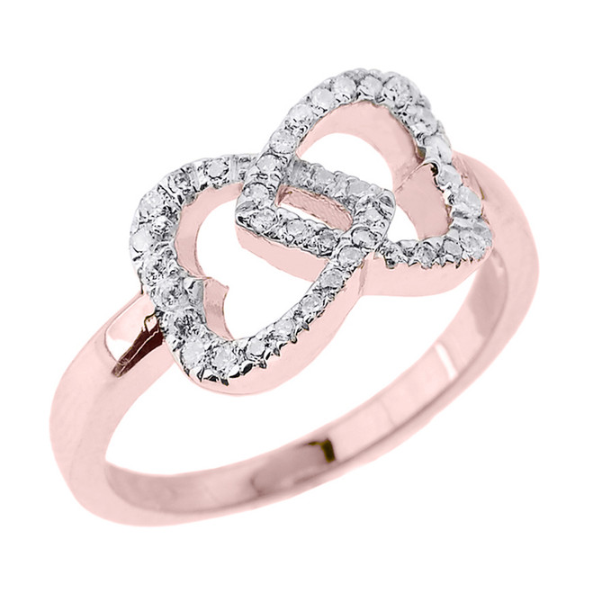 Rose Gold Diamond Infinity Double Heart Promise Ring