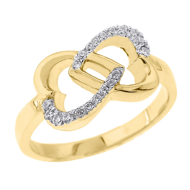 Yellow Gold Infinity Double Heart Diamond Promise Ring