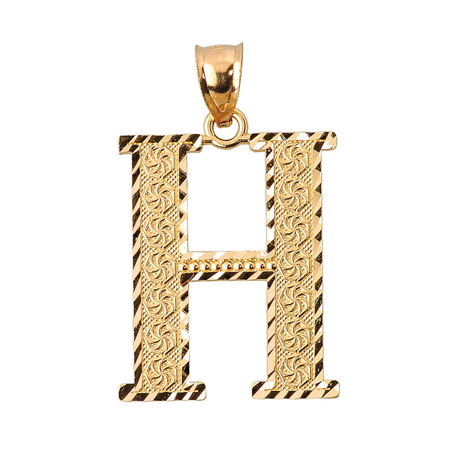 Initial H Gold Charm Pendant