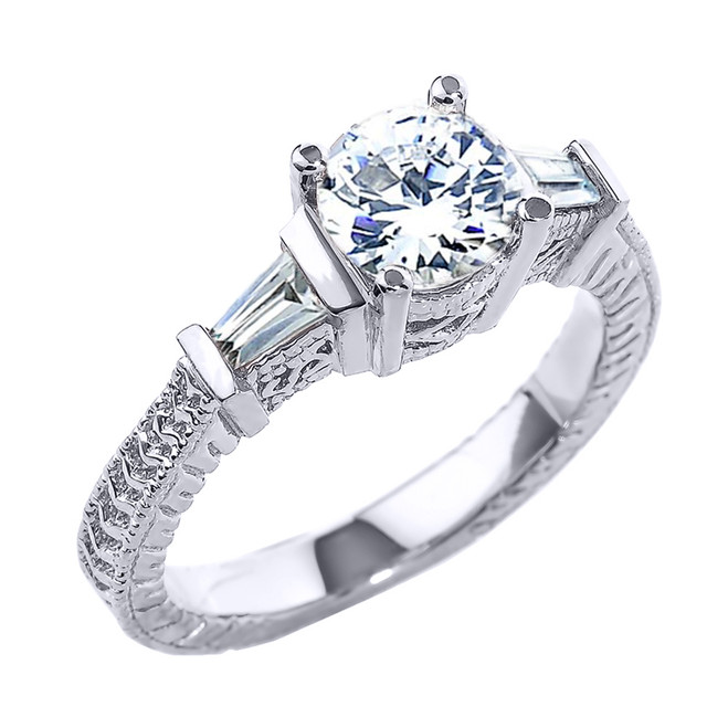 Sterling Silver Three Stone CZ Elegant Proposal Ring