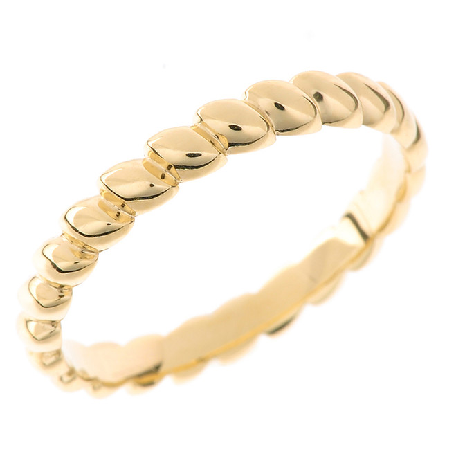 Solid Yellow Gold Rice Beaded Stackable Ring