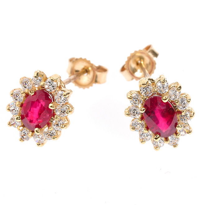 Genuine Ruby and Diamond Yellow Gold Stud Earrings