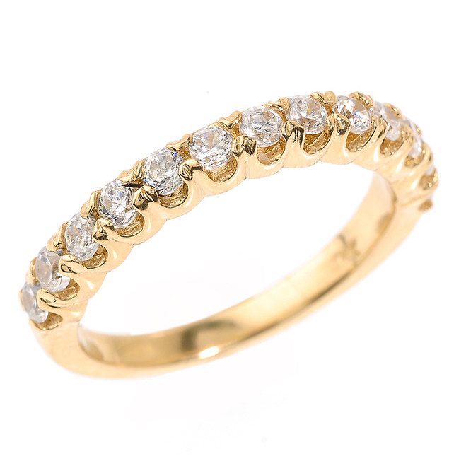 Yellow Gold Stackable Cubic Zirconia Wedding Band