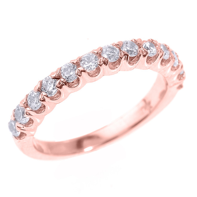 Rose Gold Stackable Cubic Zirconia Wedding Band