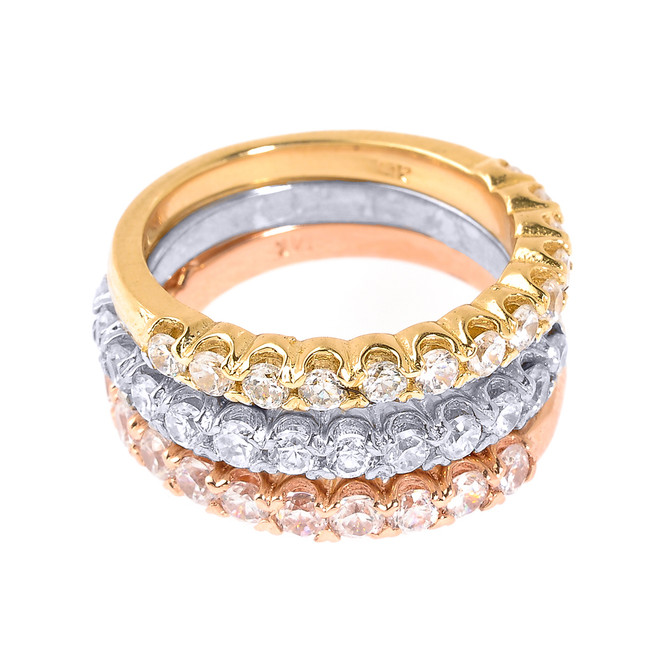 Tri Color Gold CZ Stackable 3-Piece Wedding Ring Set