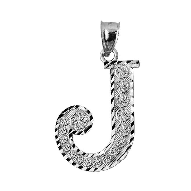 Initial J Silver Charm Pendant