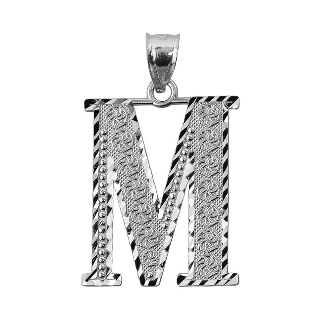 Initial M Silver Charm Pendant