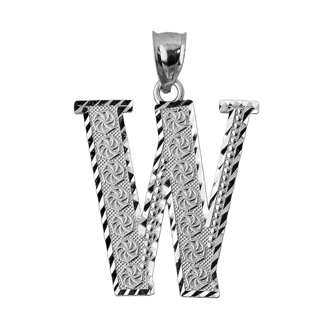 Initial W Silver Charm Pendant