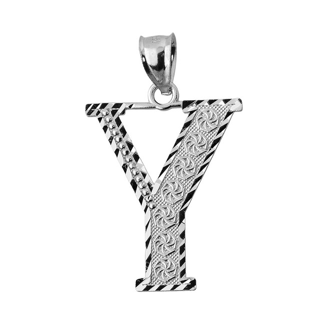 Initial Y Silver Charm Pendant