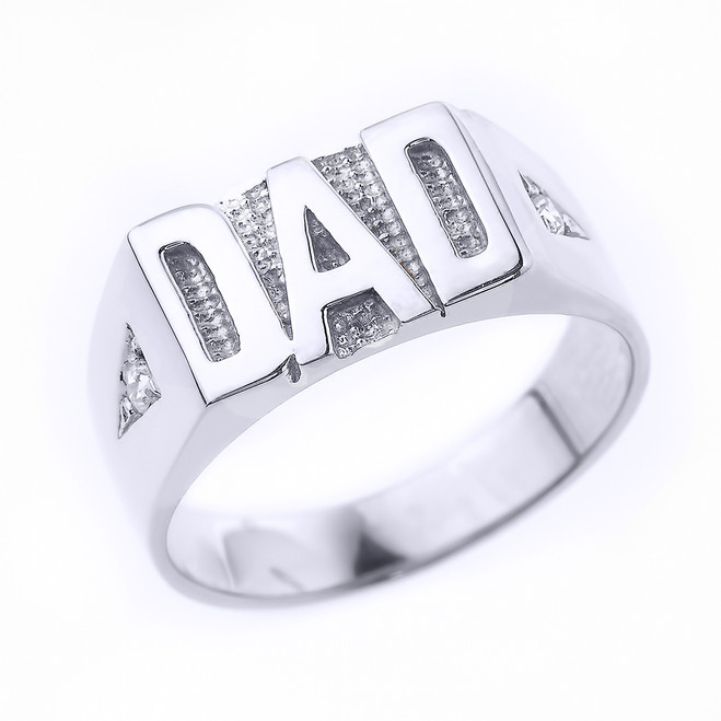 "White Gold Diamond ""DAD"" Men's Ring"