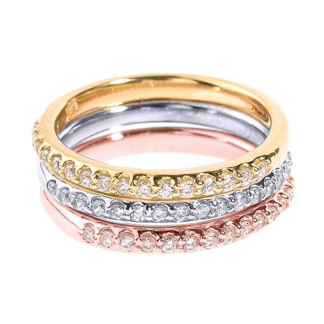 14k Tri Color Gold Diamond Stackable 3-Piece Wedding Set