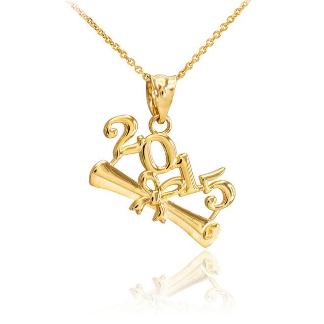 2015 Class Graduation Gold Pendant Necklace