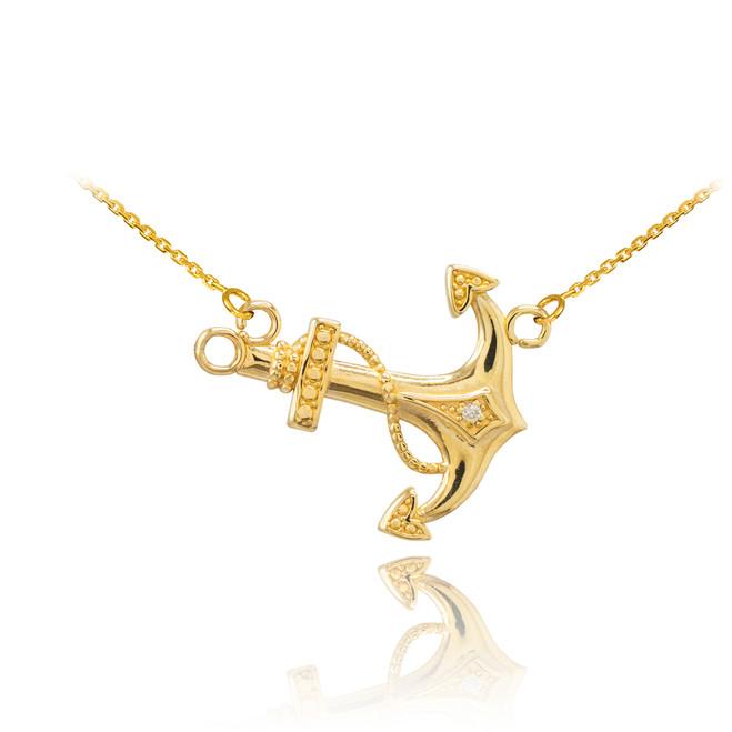 14K Gold Sideways Anchor Diamond Necklace