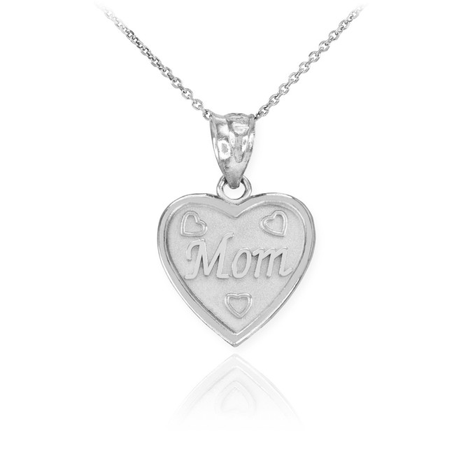 White Gold 'MOM' Heart Pendant Necklace